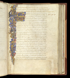 Illuminated Inhabited Initial, In Theological Treatises by St. Athanasius, Translated Into Latin  By Antonio Beccaria f.32r